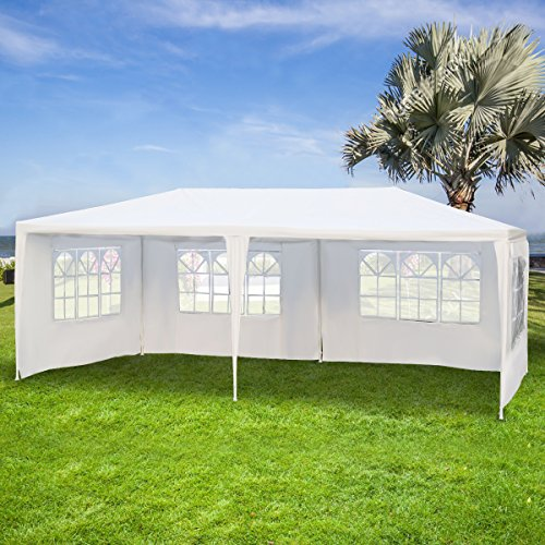 COSTWAY Garden Gazebo with Carry Bag and 4 Side Walls, Outdoor Camping Tent Canopy Wedding Party Events Marquee Shelter, 3 x 6m