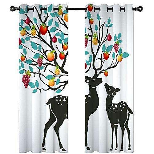 CLYDX Blickdicht Gardinen Obstbaum Elch 100% Polyester Verdunkelungsvorhang Lärm Reduzieren Geeignet für Wohnzimmer Schlafzimmer Kinderzimmer 2 * 110 x 215 cm