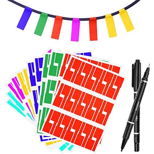 480Pcs Selbstklebende Kabeletiketten, Kabel Beschriftung Beschriften Kabelaufkleber Wasserdichte Kabelkennzeichnung Sortiert 8 Farben 16 Blatt Labels Haltbar Kabel Aufkleber - mit 2 Schreibwerkzeuge
