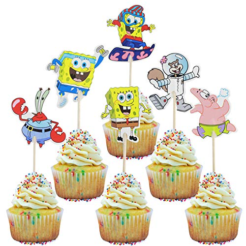 SpongeBob SquarePants Cupcake Toppers,SpongeBob Birthday Theme Party Decorations Baby Shower Supplies Favors- SpongeBob,Patrick Star,Captain Eugene H(Set of 48)