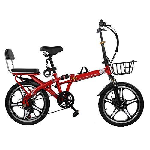 ZHEDYI 16in / 20in De Cinco Radios De Bicicleta, Aleación Ligera Bicicleta Plegable De Ciudad, Bicicletas Dobles Cercanías De Absorción De Impactos, De 7 Velocidades De Doble Freno De Disco Femenino