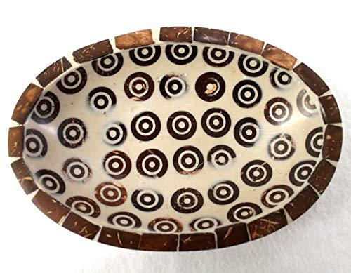 dekoundmeer Seifenschale mit Zimstücken braun-beige 15 x 10 x 3 cm Handarbeit