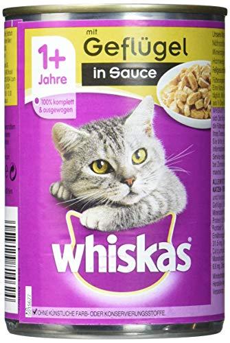 Whiskas Adult 1 plus Katzenfutter Geflügel in Sauce, 400 g