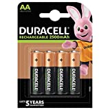 Duracell Rechargeable AA 2500 mAh batteries are our #1 longest-lasting per charge (for rechargeable AA size, per charge in same device) Duracell Rechargeable AA 2500 mAh batteries stay charged for up to 12 months, when not in use Unused Duracell Rech...