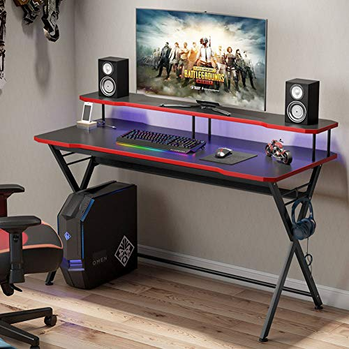Tribesigns Gaming Desk for 2 Monitors, 55 inch Large PC Gaming Table Ergonomic Gamer Computer Desk Studio Workstation with Monitor Riser and Headphone Hook