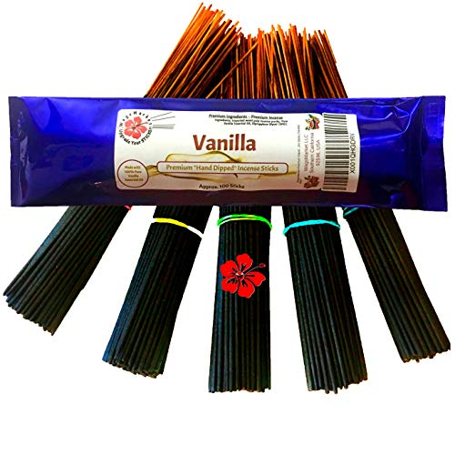 WagsMarket Premium Hand Dipped Incense Sticks, You Choose The Scent. 100-12in Sticks. (Vanilla)