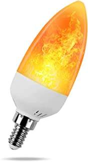 KINDEEP 1 Mode LED Flame Light Bulb, E12 Base Fire Flickering Emulation Candelabra for Decoration, 2W (1300K Warm White) Pack of 1