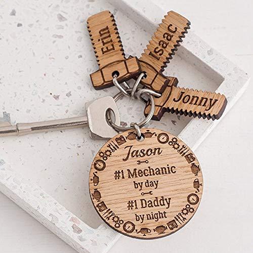 Laser engraved wood keychain