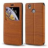 Oukitel U7 Plus Case, Wood Grain Leather Case with Card