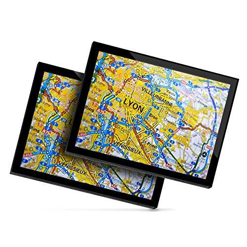 Destination 45639 Lot de 2 sets de table en vinyle 20 x 25 cm - Lyon City France - Carte de voyage française - Tapis de table / Tapis de souris / Essuyable / Imperméable