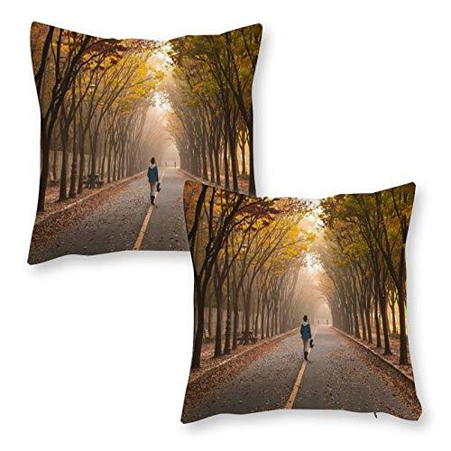 DKE&YMQ Juego de 2 fundas de cojín decorativas de lino para el hogar, infraestructura de rama de carreteras, árbol de fotografía, hoja caduciva