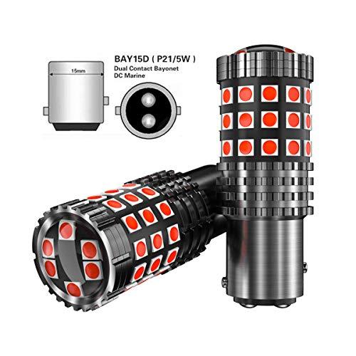 2pcs Lampadine 1157 BAY15D p21/5w LED Rosso per Auto Moto luce retromarcia di backup luce posteriore luce freno Luce segnaletica 2057 2357 3030 45SMD 12V 24V
