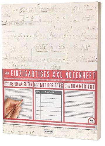 """Mein Notenheft / 86 Seiten, 44 Blätter, 12 Systeme / Mit Register und Seitenzahlen / PR301 """"White Pergament"""" / DIN A4 Softcover"""