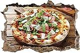 KAIASH Pegatinas de Pared Pizza de prosciutto con rúcula y parmesano en una Mesa rústica de Madera Apertura de la Pared en Aspecto 3D Adhesivo de Pared Adhesivo de Pared Decoración de Pared 62x42cm