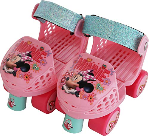 PlayWheels Disney Minnie Mouse Kids Glitter Roller Skates with Knee Pads, 170086