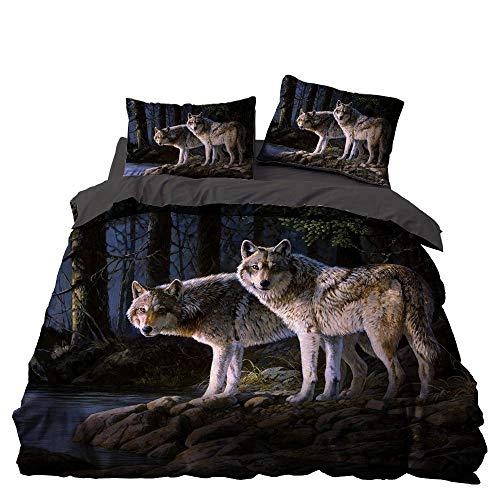CHRN - Juego de ropa de cama con diseño de lobo - Funda de edredón de microfibra estampada - Juego de ropa de cama bohemia 3D para habitación infantil y niña, 220 x 240 cm