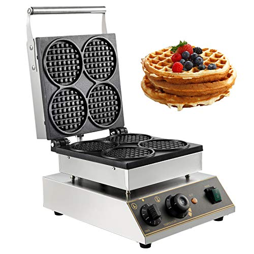 VBENLEM Commercial Round Waffle Maker 4pcs Nonstick 1750W Electric Muffin Machine Stainless Steel 110V Temperature and Time Control Suitable for Restaurant Snack Bar Family