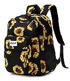 Abshoo Classical Basic Womens Sunflower School Backpack For College Teen Girls Water Resistant Bookbag (Sunflower Black)