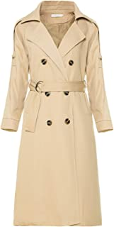 Women's Causal Double Breasted Spring Fall Long Trench Coat with Belt