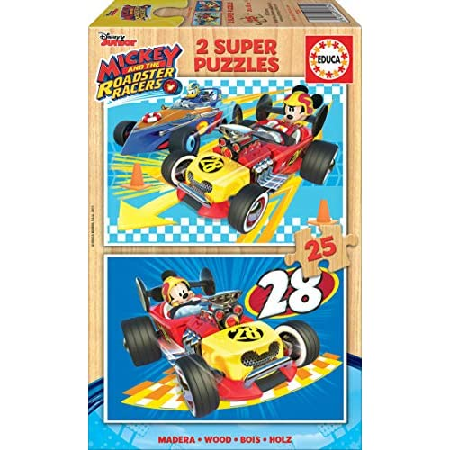 Educa Borras-2x25 And The Roadster Racers Mickey Mouse Puzzle, Colore Vario, Unica, 17234