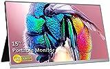 AILRINNI 15 pollici Monitor Portatile - HDMI 1920 x 1080 IPS Full HD Gaming Monitor con USB Alimentato Altoparlanti Incorporati per Laptop PS4 PS3 Xbox Switch Raspberry Pi Phone(Argento)