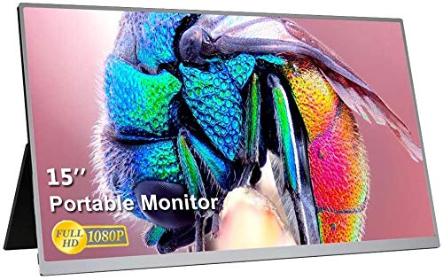 UCMDA 15 Pulgadas Monitor portátil HDMI-Full HD 1080LED Pantalla Portátil Monitor, Soporte USB Tipo IPS Screen Gaming Monitor,de Juegos para PS4, Mac,Phone, PS3, Xbox, Raspberry Pi, Laptop (Plata)