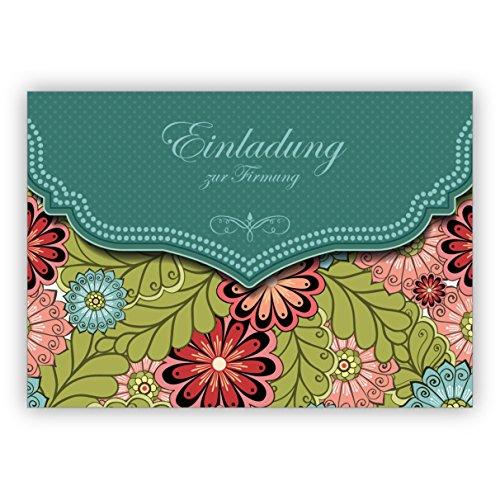 Edele uitnodigingskaart met modern bloemenpatroon in groen voor meisjes: uitnodiging voor het vormsel • mooie groet vouwkaart met envelop binnen blanco voor lieve woorden