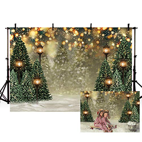 MEHOFOND 8x6ft Winter Christmas Tree Snowflake Green Newborn Photography Background Snow Scene Glitter Bokeh Portrait Backdrops Xmas Birthday Baby Shower Party Photo Banner Props