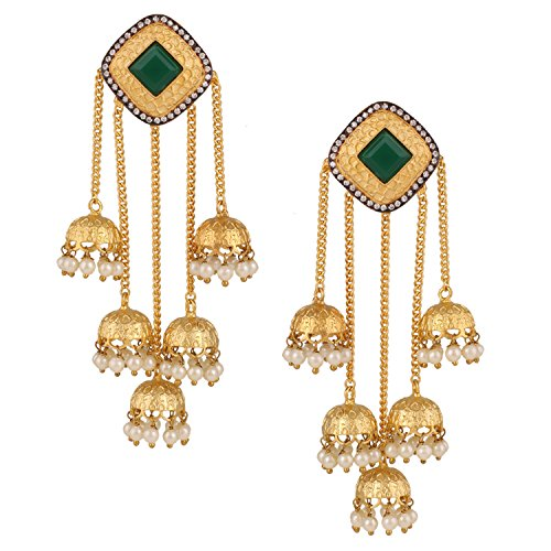 Swasti Jewels Bollywood Dazzling Collection Pearl Gold Plated and Cubic Zirconia & American Diamond Jhumka for Women Price in India