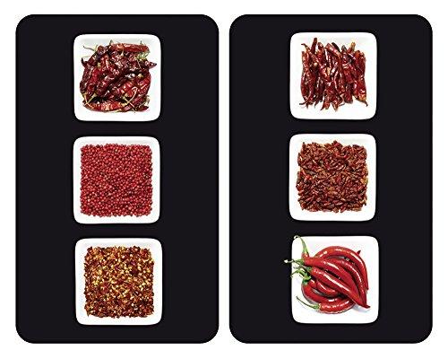 WENKO Plaque de protection en verre universel Chili - set de 2, pour tous les types de cuisinières, Verre trempé, 30 x 52 cm, Multicolore