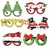 Shenruifa 2020 - Decorazioni natalizie per occhiali da vista, cornice natalizia con glitter, montatura unisex