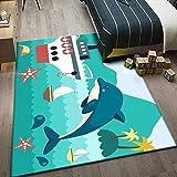 JRLTYU Alfombra de Lana Crucero Blanco Verde Estrella de mar Animal Alfombra Antideslizante para Sala,Comedór Dormitorio,Fácil de Limpiar,Superficie Suave alfombras Salon 200 x 300 cm