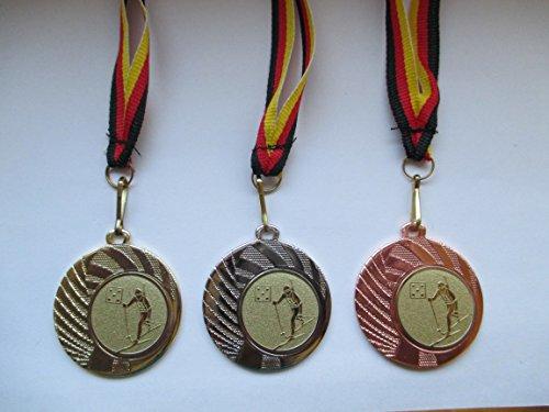 Medaillen Set - Stahl 40mm - Ski - Biathlon - Gold Silber Bronze - Medaillenset - Emblem 25mm