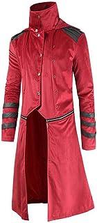 HJHK Giacca Uomo Vintage Frac Steampunk Gotica Lunga Vittoriana Stand Collo Cappotto Patchwork A Righe Mardi Gras Costume ...