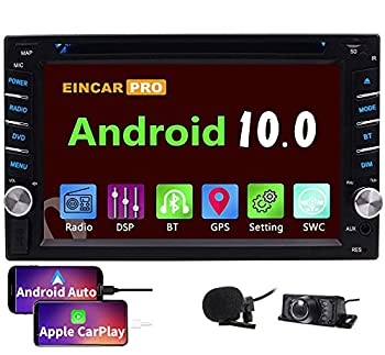 EINCAR Android 10.0 Double Din Car Stereo DVD Player Compatible with Apple CarPlay and Android Auto DSP FM Radio in Dash GPS Navigation Touchscreen BT HeadUnit WiFi SWC External Mic+Free Backup CAMERA
