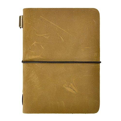 ZLYC Reisetagebuch, handgemacht, Leder, Vintage-Stil, nachfüllbar, Passgröße. Gelb 2
