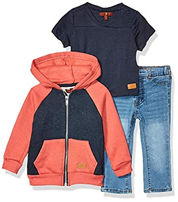 7 For All Mankind Baby Boys 3 Piece Set, Color Block Hoodie Heather Ember/Navy/Light Wash, 24M