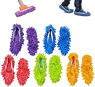 ZoneYan Zapatillas mopa,5 Pairs Multifunction Microfiber Dust Mop Shoes Slippers Cleaning For Home, 5Colors