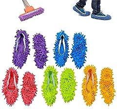 Idea Regalo - ZoneYan mop Slippers,mop Polvere,Multi Funzione Ciniglia Fibra Lavabile Piano Pulizia Scarpe per Bagno Ufficio Cucina Casa Lucidatura Pulizia, 10 pz 5 Paia