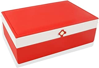 Girls Jewelry Box Portable Jewelry Box Organizer Single Layer Storage Box Ring Bracelet Necklace Display Storage Case 2 Colors S10/23 (Color : Red)