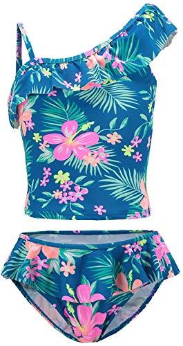 Moon Tree Großes Mädchen Geteilter Badeanzug Rüschen Hawaiian Badeanzug Strand Blau 13-14 Jahre Alt/164