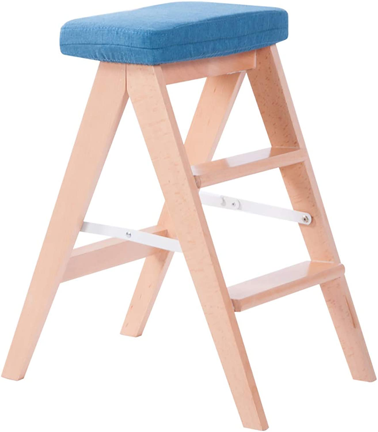 Step stools - Solid Wood Ladder Stool, Home Three-Step Folding Ladder Stool Multi-Function Ladder Chair with Cushion (color   bluee)