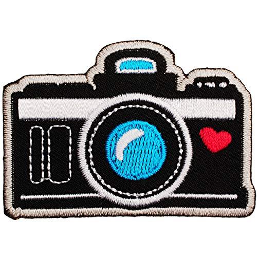 alles-meine.de GmbH Selbstklebender Textil Sticker / Bügelbild - Kamera - Fotoapparat - 5,8 cm * 4 cm - Aufnäher / Aufkleber / Applikation / Aufbügler - gestickter Flicken - Büge..