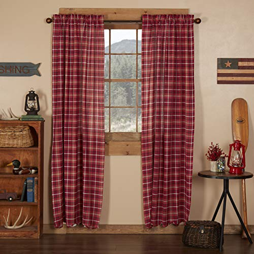 VHC Brands Americana Rustic & Lodge Window Braxton Red Scalloped Curtain Panel Pair, 84x40