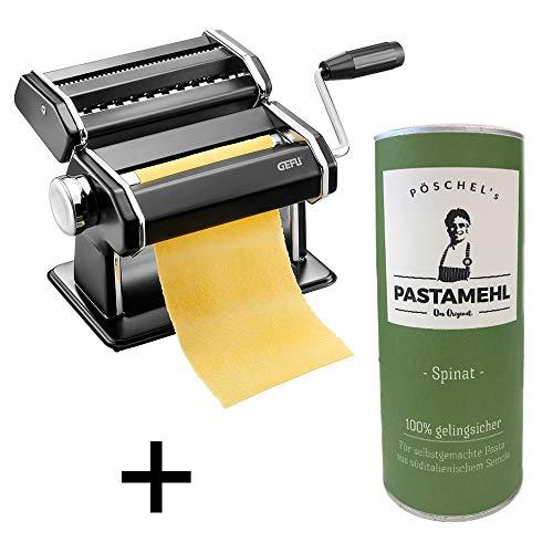 Eslohe Gefu - Pastamaschine Nudelmaschine Pasta PERFETTA schwarz + Pastamehl (Pastamehl Spinat)