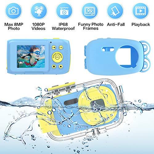 Kinderkamera wasserdichte Kinderkamera Full HD 1080P 8MP Unterwasser Kamera für Kinder 2,0 Zoll TFT HD Bildschirm Kamera Wasserdicht Kamera für Kinder