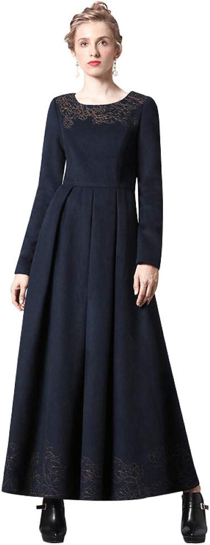 QAQBDBCKL Luxury Cotton Navy Long Dress Embroidery New Year Party Night Dress Evening Maxi Clothing
