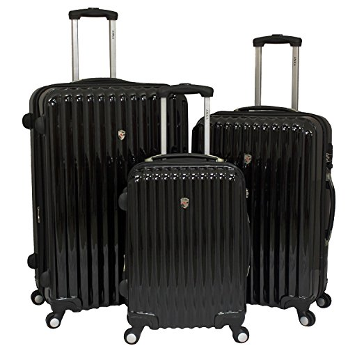 AMKA Expandable 3-piece Hardside Spinner Luggage Set With Tsa Lock-Black, One Size