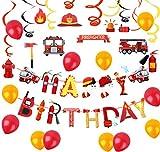 Satz von 31 Feuerwehrmann Geburtstag Banner Feuerwehrauto Geburtstag Banner Feuerwehrmann Geburtstag Party Dekoration Feuerwehr Party Dekoration