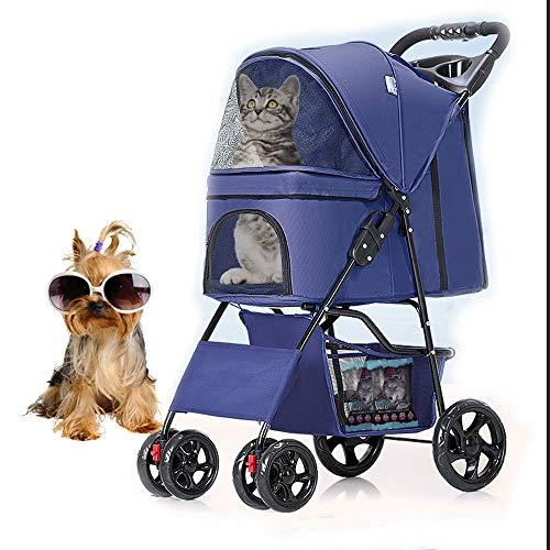 KLLKR Cochecito Plegable para Gatos Mascotas pequeños para Correr Perros Viaje Carrito de Paseo Cuatro Ruedas Carrito de Paseo con Cubierta para el (Color:Blue)
